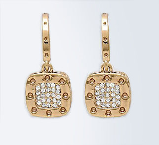 Gold Pave Dimple Earrings